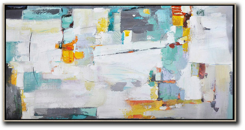 Large Abstract Art Handmade Oil Painting,Horizontal Palette Knife Contemporary Art,Original Art,White,Grey,Yellow.etc